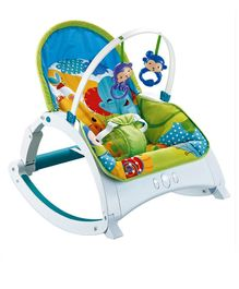 Baby Musical Rocker With Hanging Toys - Blue & Multi Colour
