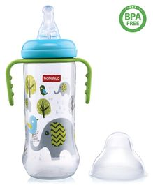 Babyhug Polypropylene Anti- Colic Feeding Bottle With Handle Blue Green - 250 ml