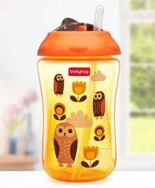 Babyhug Swipey Straw Sipper Bottle Owl Print Orange - 300 ml