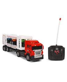 Dr. Toy Remote Control Container Truck With Extra Cars Attached  - Red & White