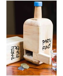 IVEI Wooden Bottle Shaped Party Fund Piggy Bank - Blue