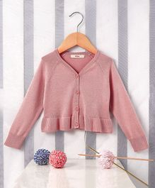 Fox Baby Full Sleeves Front Open Cardigan - Pink
