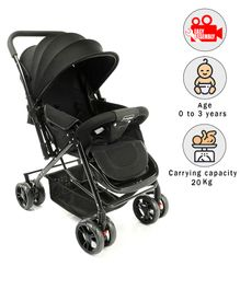 Babyhug Symphony Stroller With Reverisble Handle & Mosquito Net - Black