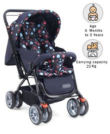 Babyhug Comfy Ride Stroller With Reversible Handle - Dark Navy Blue