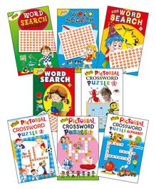 Set of 8 Word Search And Cross Words Book - English