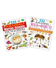 Set of 2 Encylopedia (221 Amazing Marine Animals Encyclopedia, 221 Amazing Bugs and Insects Encyclopedia)