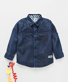 Gini & Jony Full Sleeves Solid Denim Shirt - Dark Blue