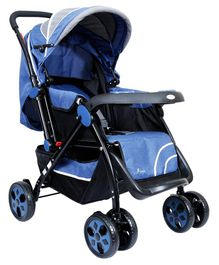1st Step Pram With Reversible Handlebar Extended Canopy And Reclining Seat - Blue