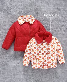 Babyhug Collar Neck Reversible Padded Jacket Lion Print - Red