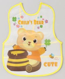 Alpaks Baby Apron With Pocket Bear Print - Yellow
