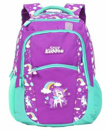 Smilykiddos Dreamland Backpack With Padded Adjustable Straps Fairy Print Purple - Height 16 inches