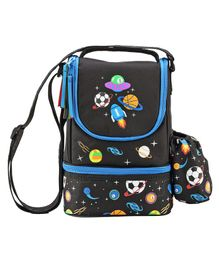 Similykiddos Lunch Box Bag Rocket Print - Black