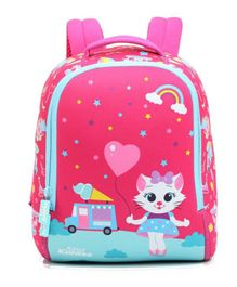Smilykiddos Holiday Pre School School Bag Kitty Print Pink - Height 8.2 inches