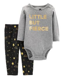 Carter's 2-Piece Fierce Bodysuit Pant Set - Grey Black