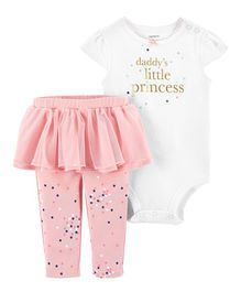 Carter's 2-Piece Princess Bodysuit & Tutu Pant Set - White Peach