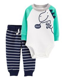 Carter's 2-Piece Dinosaur Bodysuit Pant Set - White