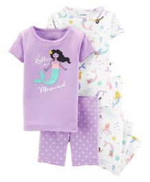Carter's 4-Piece Mermaid Snug Fit Cotton PJs - Purple