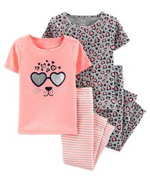 Carter's 4-Piece Leopard Snug Fit Cotton PJs - Pink
