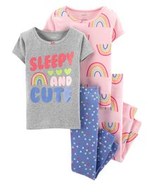 Carter's 4-Piece Rainbow Snug Fit Cotton PJs - Multicolor