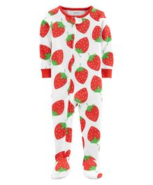 Carter's 1-Piece Strawberry Snug Fit Cotton Footie PJs - White Red