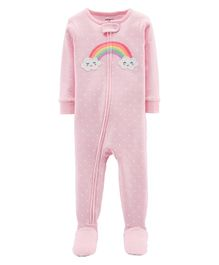 Carter's 1-Piece Rainbow Snug Fit Cotton Footie PJs - Light Pink