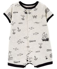 Carter's Crab Snap-Up Romper - Light Grey