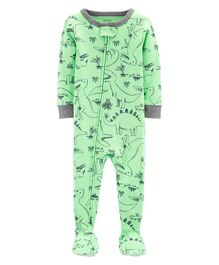 Carter's 1-Piece Dinosaur Snug Fit Cotton Footie PJs - Green