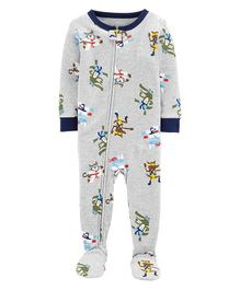 Carter's 1-Piece Ninja Snug Fit Cotton Footie PJs - Grey