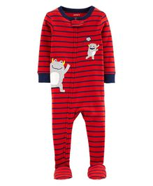 Carter's 1-Piece Monster Baseball Snug Fit Cotton Footie PJs - Red