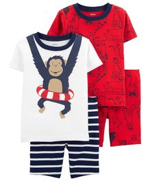 Carter's 4-Piece Monkey Snug Fit Cotton PJs - White Red