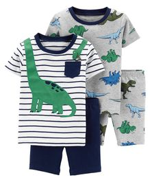 53e8ce6524a0 Carter s 4-Piece Dinosaur Snug Fit Cotton PJs - Grey White Navy Blue