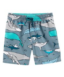 Carter's Shark Print Swim Trunks - Grey