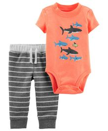 Carter's 2-Piece Shark Bodysuit Pant Set - Peach Grey