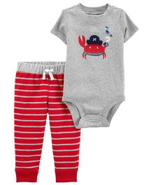Carter's 2-Piece Crab Bodysuit Pant Set - Red Grey