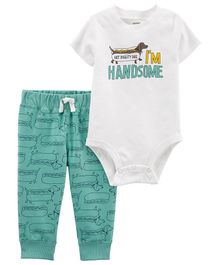 Carter's 2-Piece Hot Dog Bodysuit Pant Set - White Mint Green