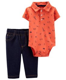 Carter's 2-Piece Schiffli Polo Bodysuit Pant Set - Blue Crimson