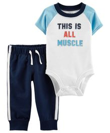 Carter's 2-Piece Athletic Bodysuit Pant Set - White Blue