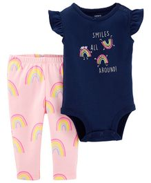 Carter's 2-Piece Rainbow Bodysuit Pant Set - Navy Blue Pink