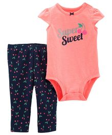 Carter's 2-Piece Cherry Bodysuit Pant Set - Peach Navy