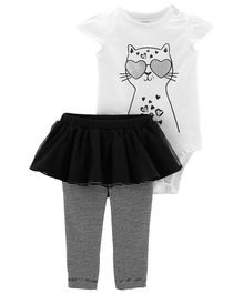 Carter's 2-Piece Foil Cat Bodysuit & Tutu Pant Set - White Black