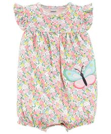Carter's Floral Butterfly Snap-Up Romper - Multicolor