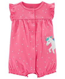 Carter's Polka Dot Unicorn Snap-Up Romper - Pink