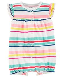 Carter's Striped Heart Snap-Up Romper - Multicolour