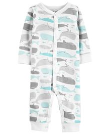 Carter's Whale Snap-Up Cotton Footless Sleep & Play - White