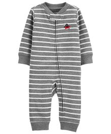 Carter's Striped Zip-Up Cotton Footless Sleep & Play - Grey