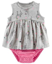 7f0b4e4cf716 Carter s Flamingo Jersey Sunsuit - Grey Pink