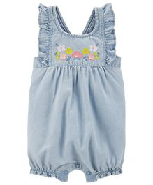 Carter's Floral Chambray Romper - Blue
