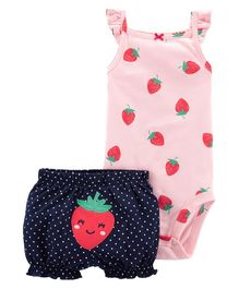 Carter's 2-Piece Strawberry Bodysuit & Short Set - Pink Blue