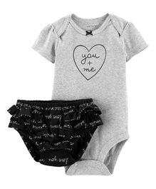 Carter's 2-Piece Heart Bodysuit & Diaper Cover Set - Grey Black