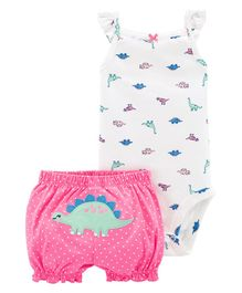 Carter's 2-Piece Dinosaur Bodysuit & Short Set - White Pink